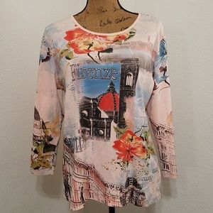 FIRENZE•Flirence,Italy themed top•NWOT•